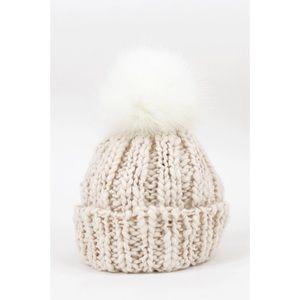 Chunky Knit Pom Hat-IVORY